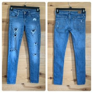 American Eagle Distressed Skinny Jeans Jeggings 2